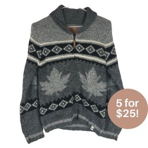 5/$25 - Canadiana Knit Sweater Grey Maple Leave L